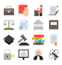 symbols legal regulations juridical icons set vector image