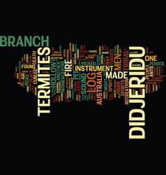 The didjeridu text background word cloud concept vector