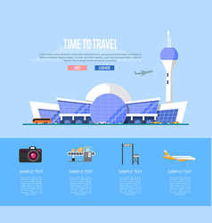 Time to travel banner with airport terminal vector