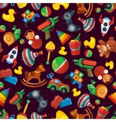 Toys seamless pattern for kids isolate on dark vector