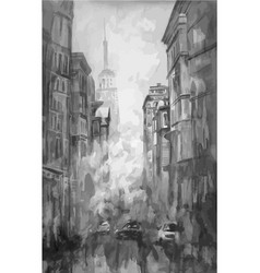 watercolor and painting of street view of vector image