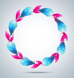 Watercolor wreath of feathers vector
