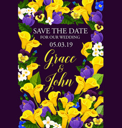 Wedding or engagement invitation floral banner vector
