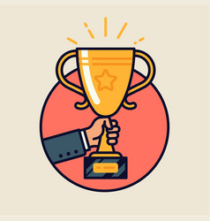 winner trophy round icon vector image