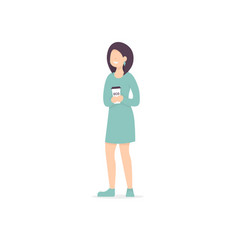 Woman drink coffee in reusable glass vector