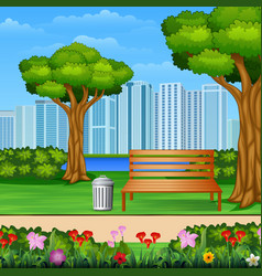 wooden bench and trash can in city park with vector image
