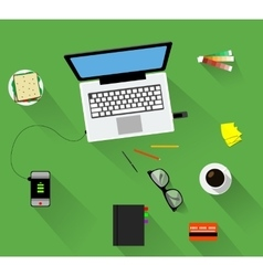 Working place with tools vector image vector image
