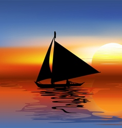 A Tropical Landscape Sunset with a boat vector image