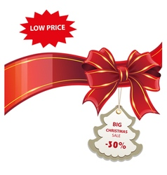 Christmas sale red banner vector image