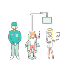 dental care dentist doctor nurse and patient in vector image vector image