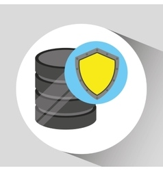 Hand holds data shiled protection icon vector