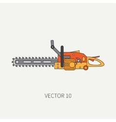 Line flat icon with building electrical vector image