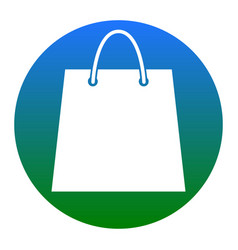 shopping bag white icon in vector image vector image