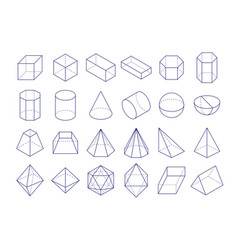 3d geometric shapes outline objects vector image