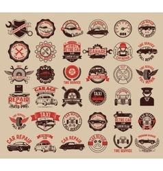 Big set of car service taxi tire service labels vector image