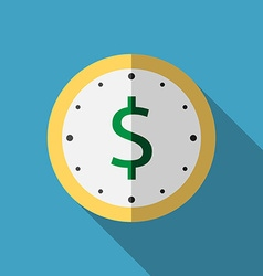 Clock with dollar icon vector image vector image
