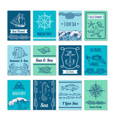 design template of cards with marine symbols in vector image vector image