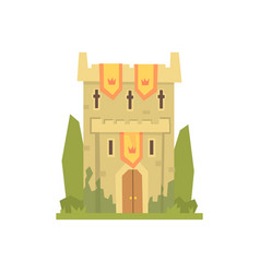 medieval stone fortress tower ancient vector image