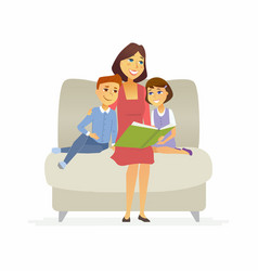 mother reads a fairytale - cartoon people vector image vector image