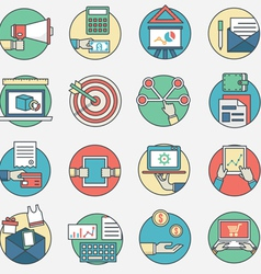 Outline set of business icons vector image vector image