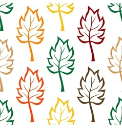 Seamless background pattern of colorful leaves vector image