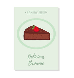 Set of pastry poster banner for sale of brownie vector