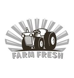 tractor emblem design template vector image
