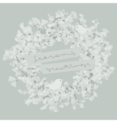 White wreath with two pretty birds vector image