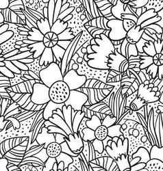 Black doodle flowers pattern vector image vector image