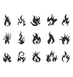 black flame icon vector image