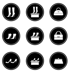 Black icons female bags and shoes vector image vector image