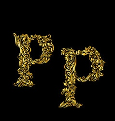 Decorated letter p vector image