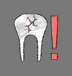 Flat shading style icon tooth fracture vector