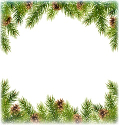 Green Christmas Tree Pine Branches with Pinecones vector image