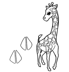 paw print with giraffe Coloring Pages vector image vector image