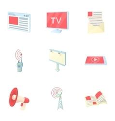 Stream icons set cartoon style vector