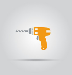 yellow drill isolated colored icon vector image vector image
