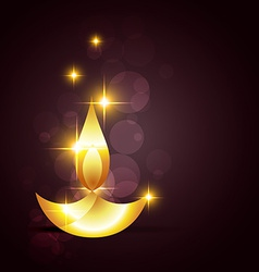 Glowing diwali diya on a background vector image vector image
