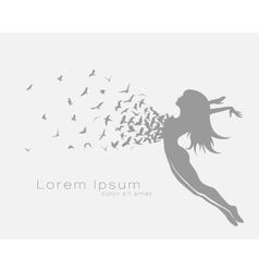 jumping girl with bird flying vector image