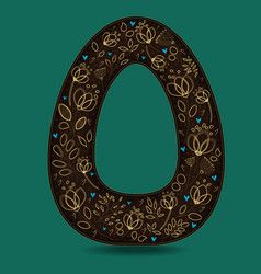 letter o with golden floral decor vector image