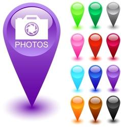 Photos button vector image vector image