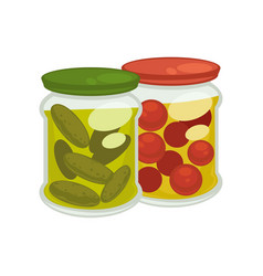 pickled tomatoes and cucumbers vector image vector image