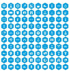 100 sport journalist icons set blue vector