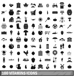 100 vitamins icons set simple style vector