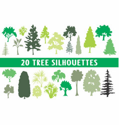 20 tree silhouettes different shapes vector image
