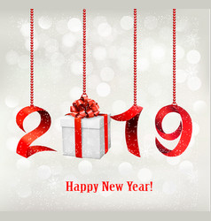 2019 new years background with gift vector