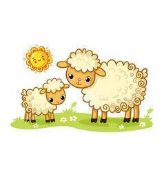 A sheep and a lamb stand in a green sunny meadow vector