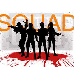 A squad of 4 pubg players vector