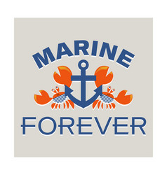 Anchor and two red sailor crab marine forever vector
