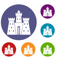Ancient castle palace icons set vector